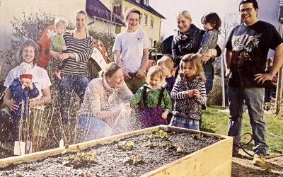 """Unterstützung der Kinderkrippe """"Pusteblume"""" beim Bau eines Naschgartens"""